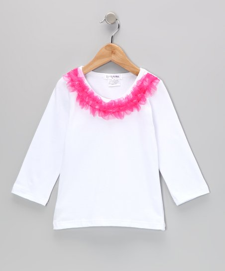 White & Pink Ruffle Collar Tee - Infant, Toddler & Girls