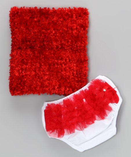 Red Ruffle Top & Diaper Cover