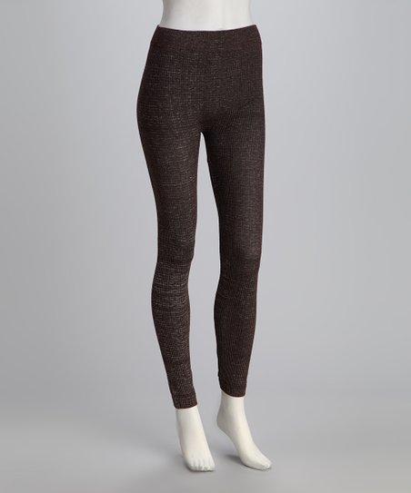 Brown Knit Leggings Set