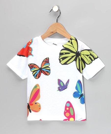 White Butterfly Tissue Tee - Toddler & Girls
