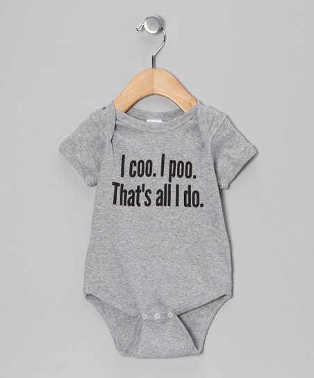 Heather Gray 'I Coo. I Poo.' Bodysuit - Infant