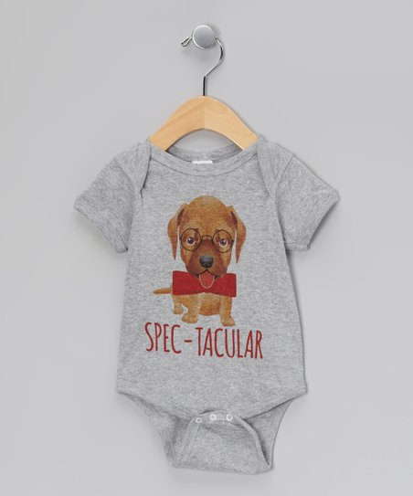 Gray 'Spec-Tacular' Pup Bodysuit - Infant