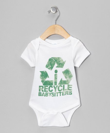 White &#039;Recycle Babysitters&#039; Bodysuit