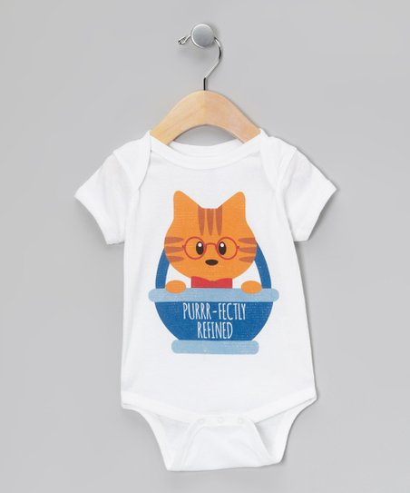 White 'Purrr-Fectly Refined' Bodysuit - Infant