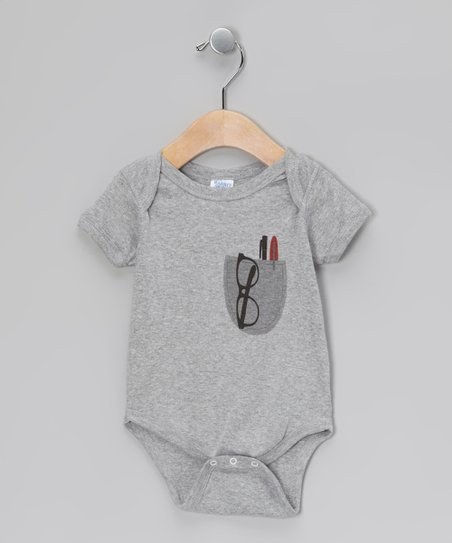 Heather Gray Pocket Protector Bodysuit - Infant