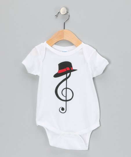 White Treble Clef Fedora Bodysuit - Infant