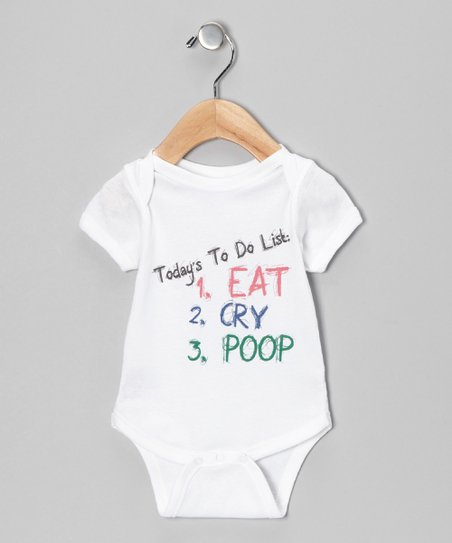 White 'To Do' Bodysuit - Infant