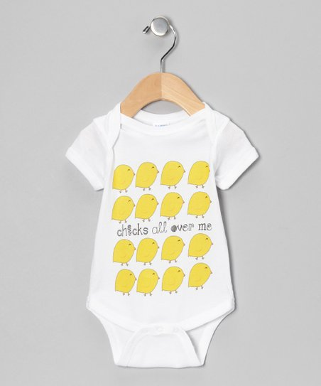 White 'Chicks All Over Me' Bodysuit - Infant
