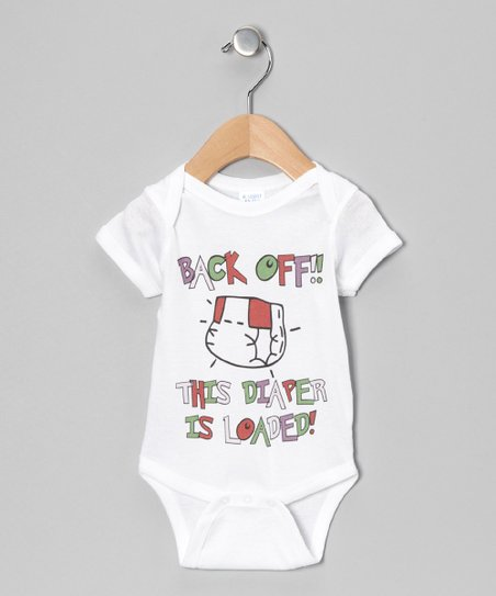 White Loaded Diaper Bodysuit - Infant