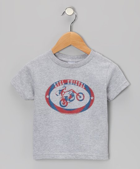 Gray 'Evel Knievel' Motorcycle Tee - Toddler & Kids