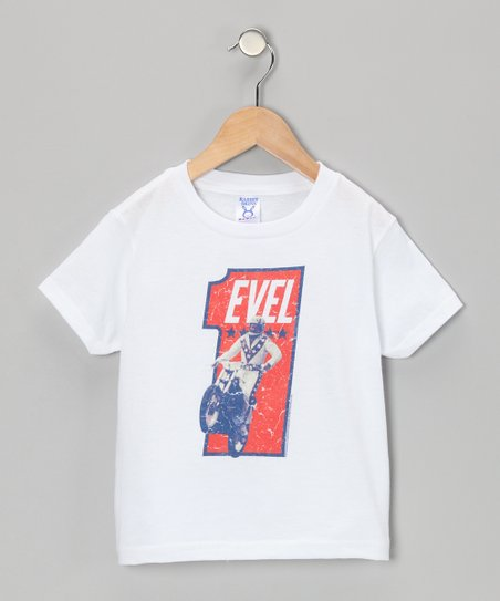 Vintage White 'Evel' Tee - Toddler & Kids