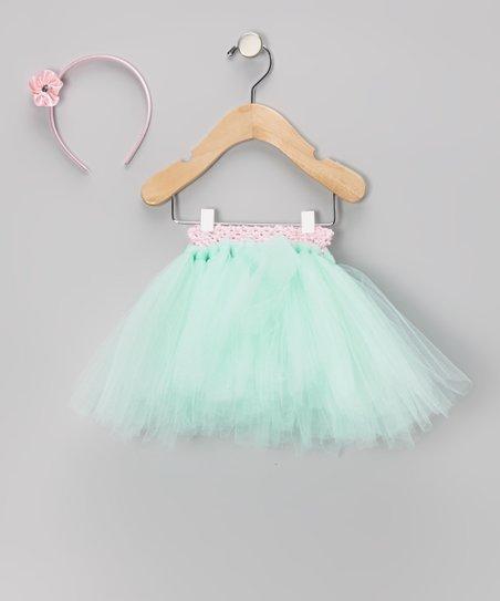 Mint & Pink Tutu & Headband – Infant, Toddler & Girls