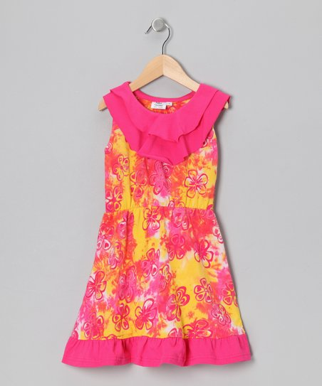 Pink & Yellow Flower Dress - Infant, Toddler & Girls