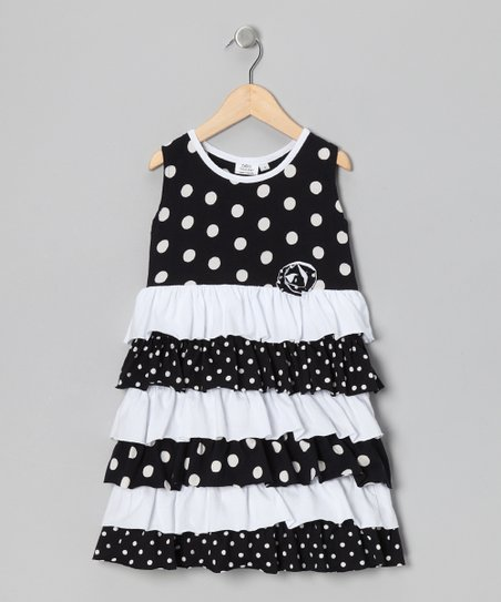 Black Polka Dot Ruffle Dress - Infant, Toddler & Girls