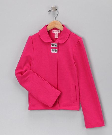 Fuchsia French Terry Jacket - Girls