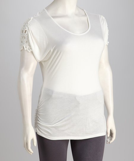 Tua Plus White Crochet Plus-Size Top