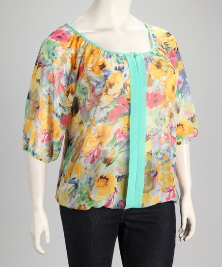 Yellow & Aqua Sheer Floral Plus-Size Top