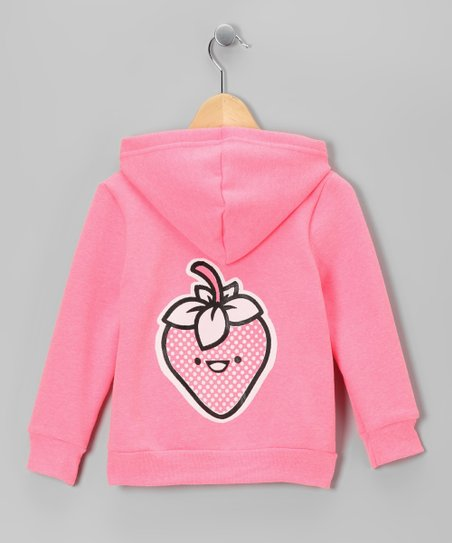 Neon Pink Happy Strawberry Zip-Up Hoodie - Toddler &amp; Girls