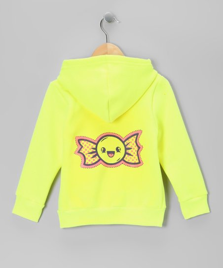 Neon Yellow Happy Candy Zip-Up Hoodie - Toddler &amp; Girls