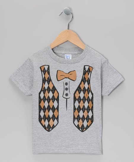 Gray Argyle Vest Tee - Infant, Toddler & Boys