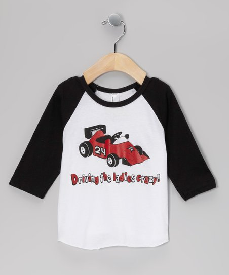 Black 'Crazy' Raglan Tee - Infant, Toddler & Boys