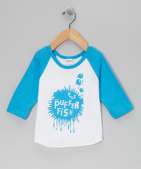 Blue & White Puffer Fish Raglan Tee - Infant, Toddler & Boys