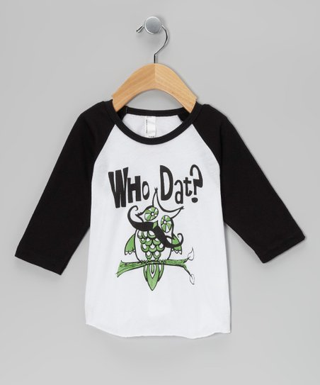 Black &amp; White &#039;Who Dat?&#039; Owl Raglan Tee - Infant, Toddler &amp; Boys
