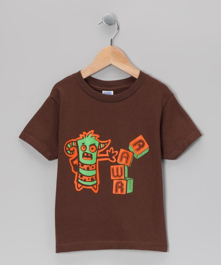 Brown &#039;Rawr&#039; Block Tee - Infant, Toddler &amp; Boys