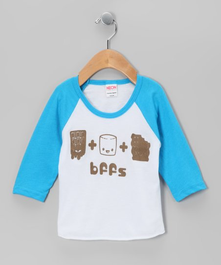 Blue & White 'BFFS' S'mores Raglan Tee - Infant, Toddler & Girls