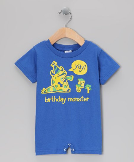 Royal Blue 'Birthday Monster' Romper - Infant