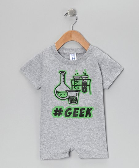 Gray '#Geek' Romper - Kids