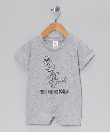 Rainbow Swirlz Gray 'You See Me Rollin' Romper - Infant
