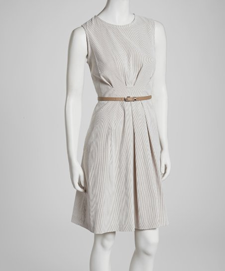 Taupe Stripe Belted Sleeveless Dress