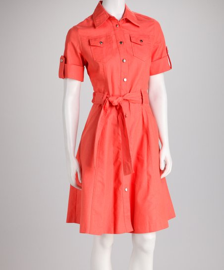 Coral Tie-Waist A-Line Shirt Dress