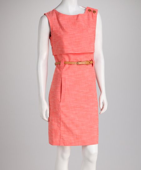 Coral Belted Layer Dress