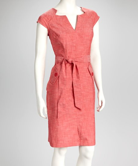 Red Split-Neck Sheath Dress