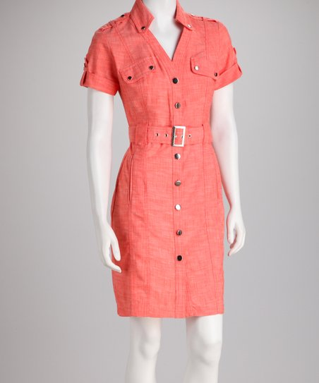 Coral Belted Shirt Dress