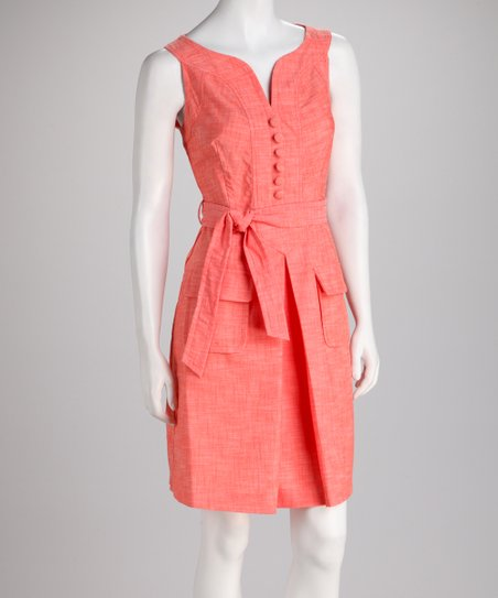 Coral Tie-Waist Box Pleat Dress