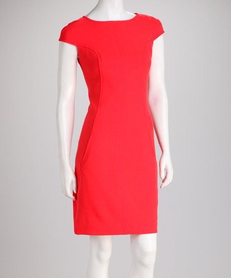 Orange Red Curved Seam Cap-Sleeve Dress