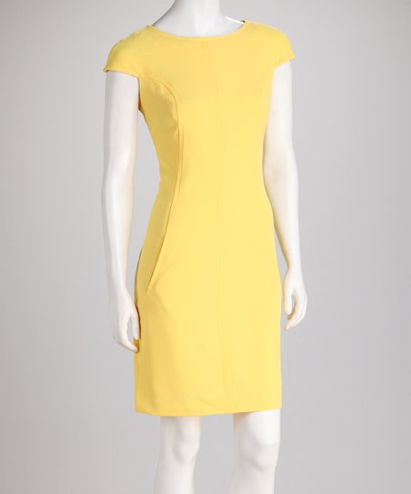 Sunshine Curved Seam Cap-Sleeve Dress