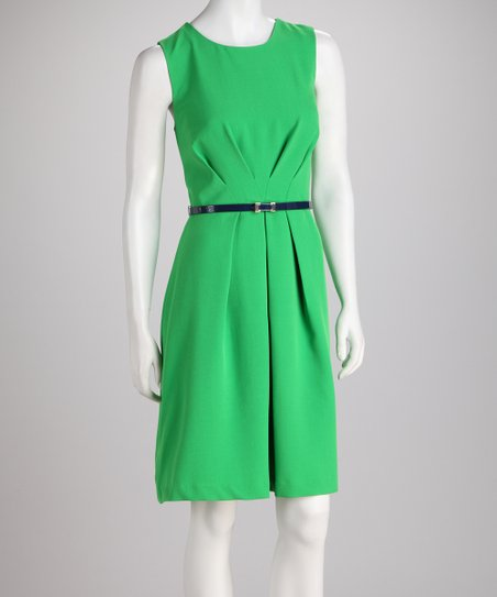 Kelly Green Pleat Waist Sleeveless Dress