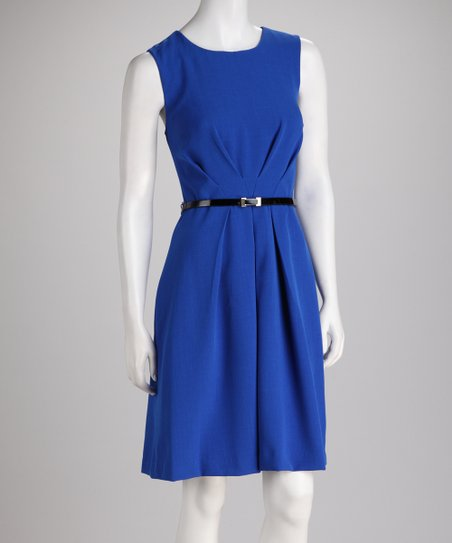 Sapphire Pleat Waist Sleeveless Dress