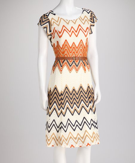 Cream & Navy Zigzag Knit Belted Dress