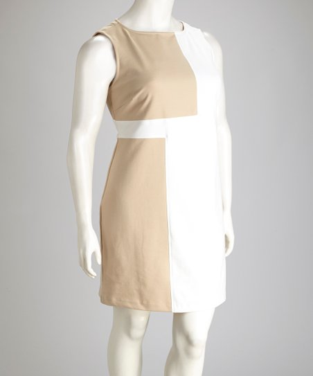 Ivory & Taupe Color Block Plus-Size Dress
