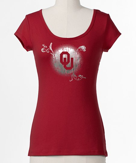 Crimson Oklahoma Bow Back Tee - Women
