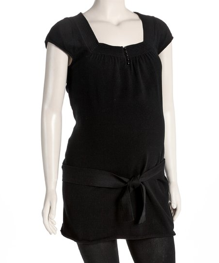 Black Maternity Square-Neck Tunic - Women