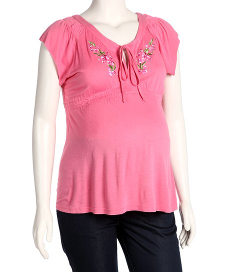 Pink Embroidered Maternity Top - Women