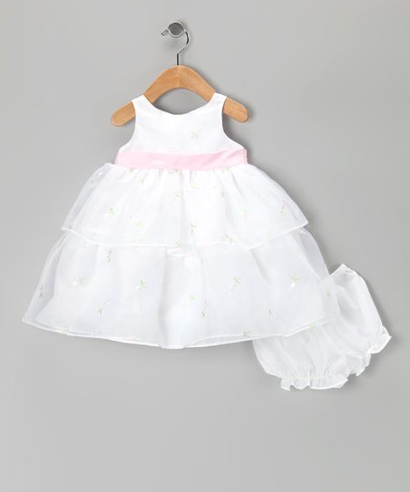 White Tiered Organza Dress & Diaper Cover - Infant