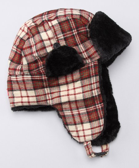 Red Plaid Trapper Hat
