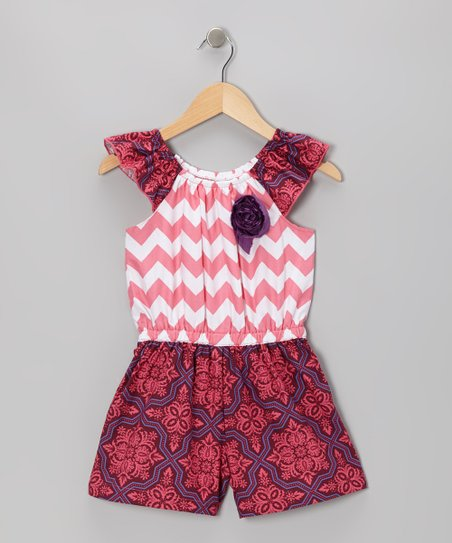 Pink & Maroon Clarissa Romper - Toddler & Girls